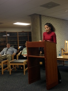 Maria Klecko '15 introduces the panel.