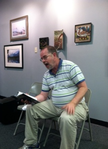 Professor Pobo reads at the Media Arts Center for the State Street Reading Series