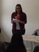 Chapter President Autumn Heisler shares her remarks; photo courtesy of Professor Mark Graybill