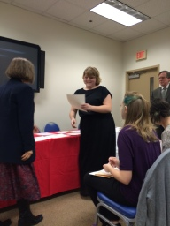 Taylor Brown is inducted into Sigma Tau Delta