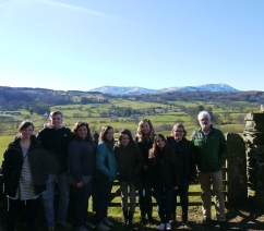 The group (l to r) in the Vale of Esthwaite: Alice Carthy (Events Officer, The Wordsworth Trust), Bill Kitchen, Amanda Joseph, Kimberlee Roberts, Emma Irving, Jeannie McGuire, Victoria Giansante, Taylor Brown, Professor Daniel Robinson