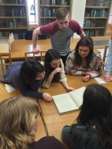 Kim, Emma, Victoria, Bill, Amanda, and Jeannie in the reading room of the Jerwood Centre.