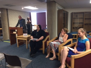 l-r: Professor Ken Pobo, Monica Colwell, Megan Lewis, Sierra Offutt