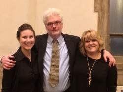 Professor Robinson with students Ashley DiRienzo (l) and Taylor Brown (r) at the awards ceremony on Thursday night.