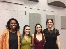 Honorees from English and Creative Writing: (l-r) Jasmine Kouyate, Victoria Giansante, Emma Irving, Taylor Blum